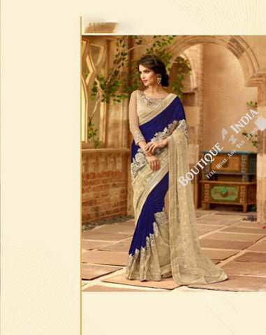Sarees - Royal Blue And Golden Stunning Bridal Designer Collections - Wedding / Party / Bridal - Boutique4India Inc.