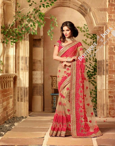 Sarees - Rich Reddish Pink And Golden Stunning Bridal Designer Collections - Wedding / Party / Bridal - Boutique4India Inc.