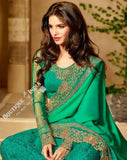 Sarees - Turquoise Blue, Green And Golden Stunning Bridal Designer Collections - Wedding / Party / Bridal - Boutique4India Inc.