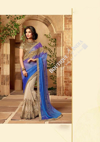 Sarees - Purple And Golden Stunning Bridal Designer Collections - Wedding / Party / Bridal - Boutique4India Inc.