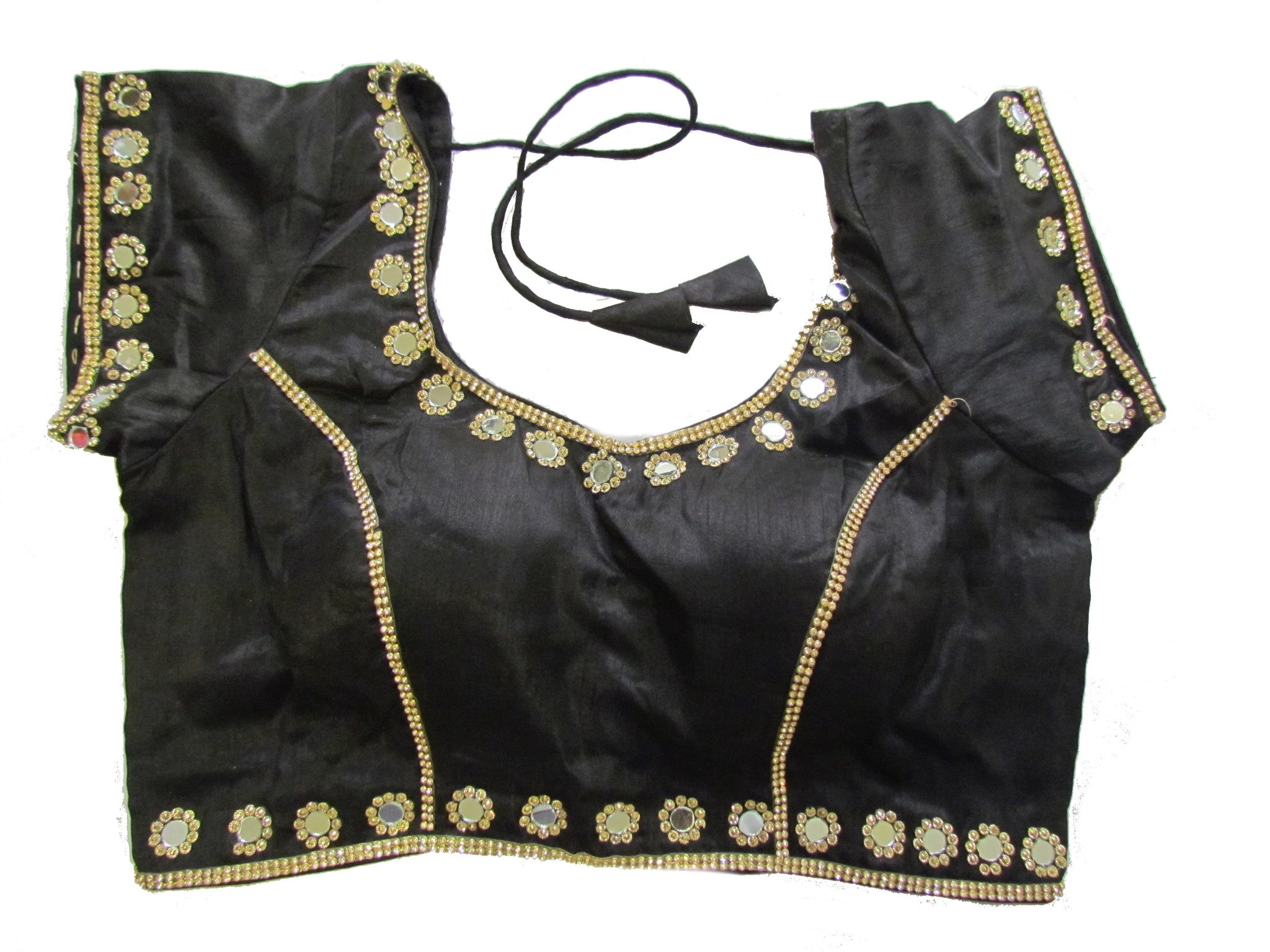 Black dupion silk brocade padded mirror work blouse