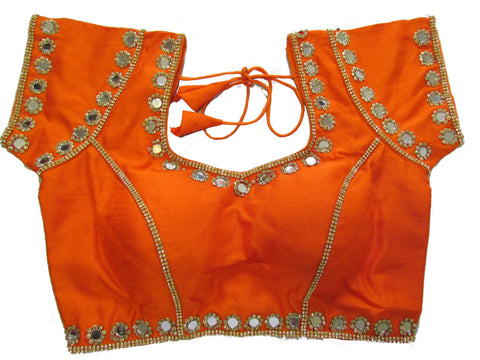 Orange dupion silk brocade padded mirror work blouse