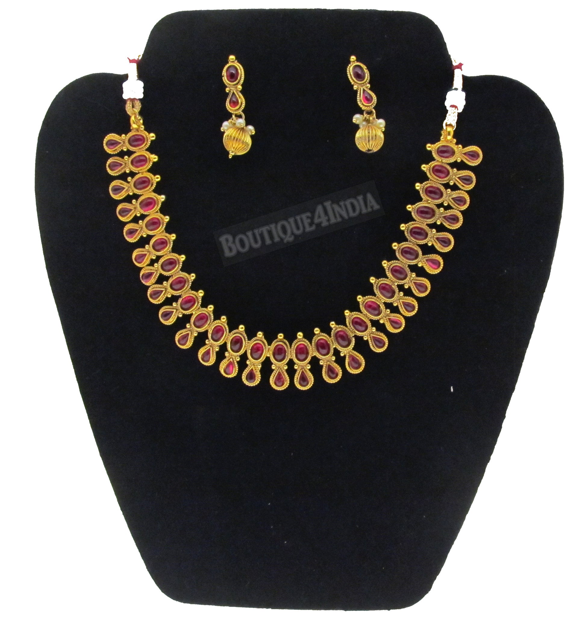 Elegant traditional pink kemp bead kundan jewelry set