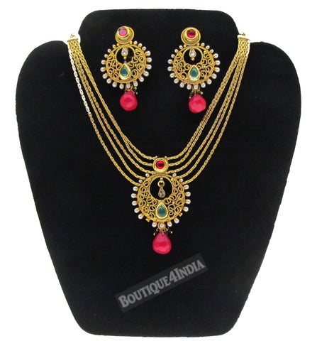 Partywear kundan necklace set with earrings set