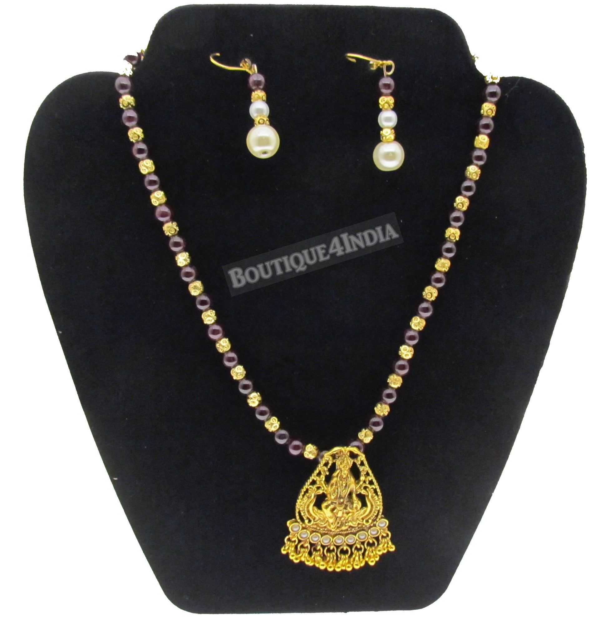 Traditional temple designer gold plated purple beads necklace set