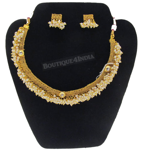Necklace set polki pearl beads gold plated temple jewelry