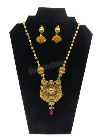 Kundan style designer 24 inches long Necklace with matching Earrings set