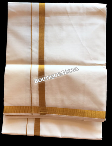 Cream color cotton double dhoti
