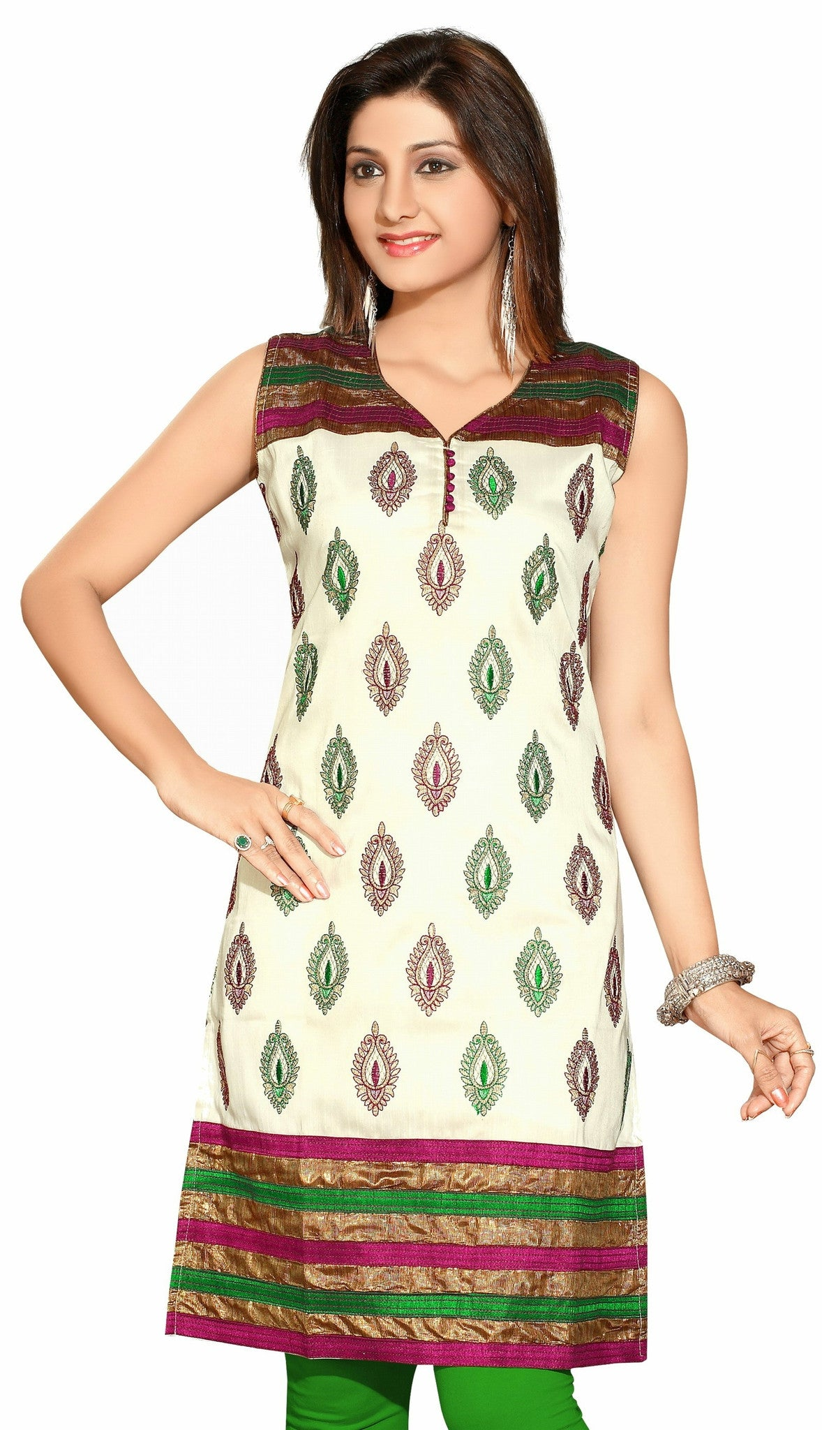 Off White Silk Fabric short sleeves kurti with Brocade work