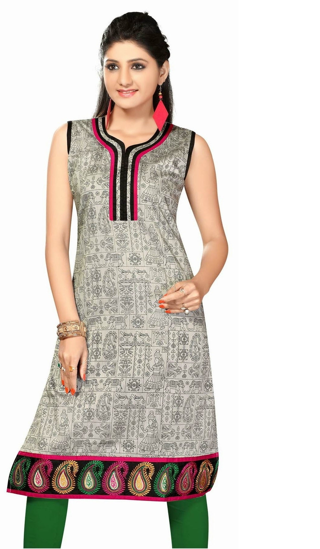 Cotton Silk Printed kurti with nice black and pink pippin on the neck - Boutique4India Inc.