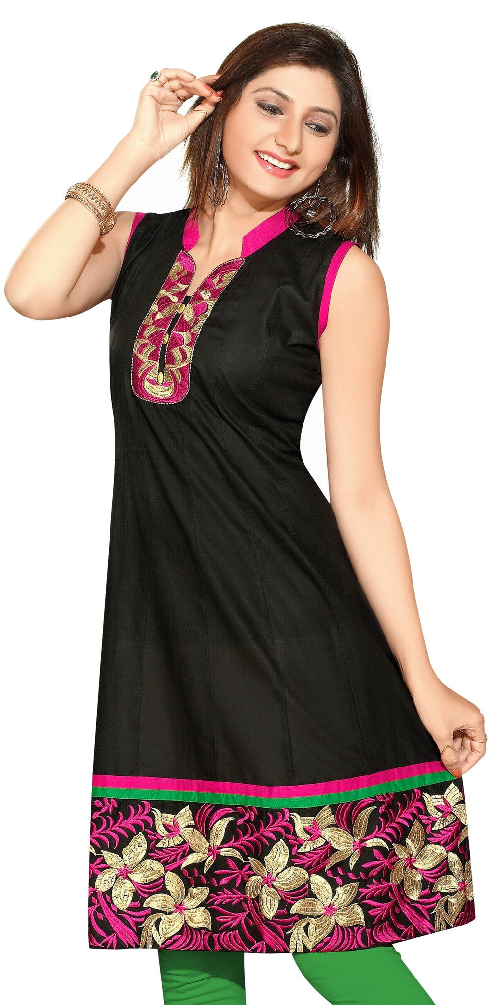Collar Style Anarkali Short Sleeves Kurti with Gold Zari floral patch work - Boutique4India Inc.