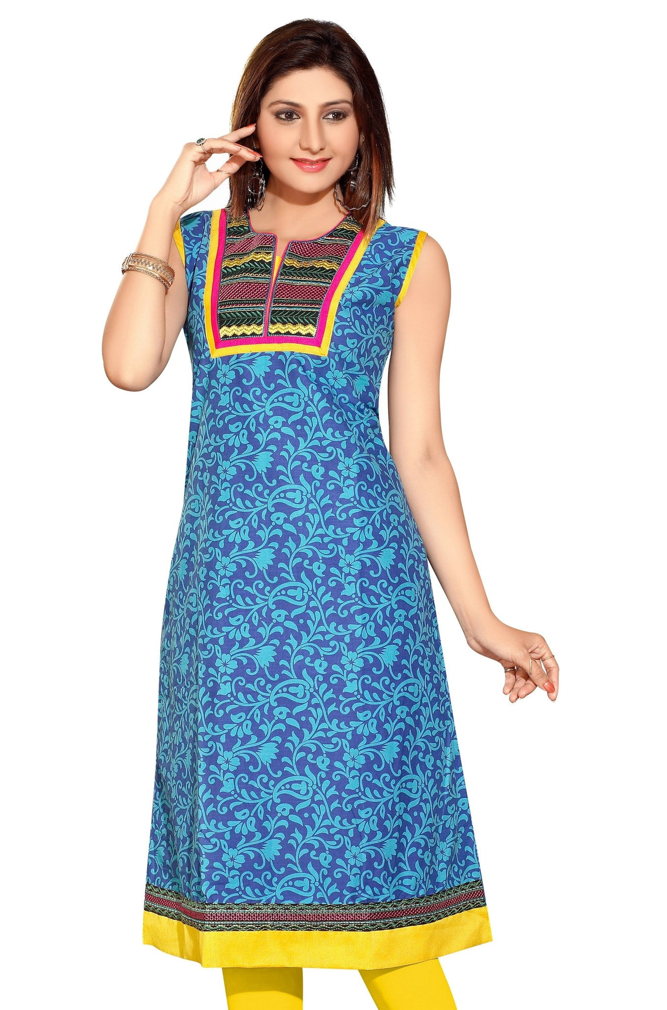 Blue Anarkali Style Short Sleeves Printed kurti with patchwork - Boutique4India Inc.