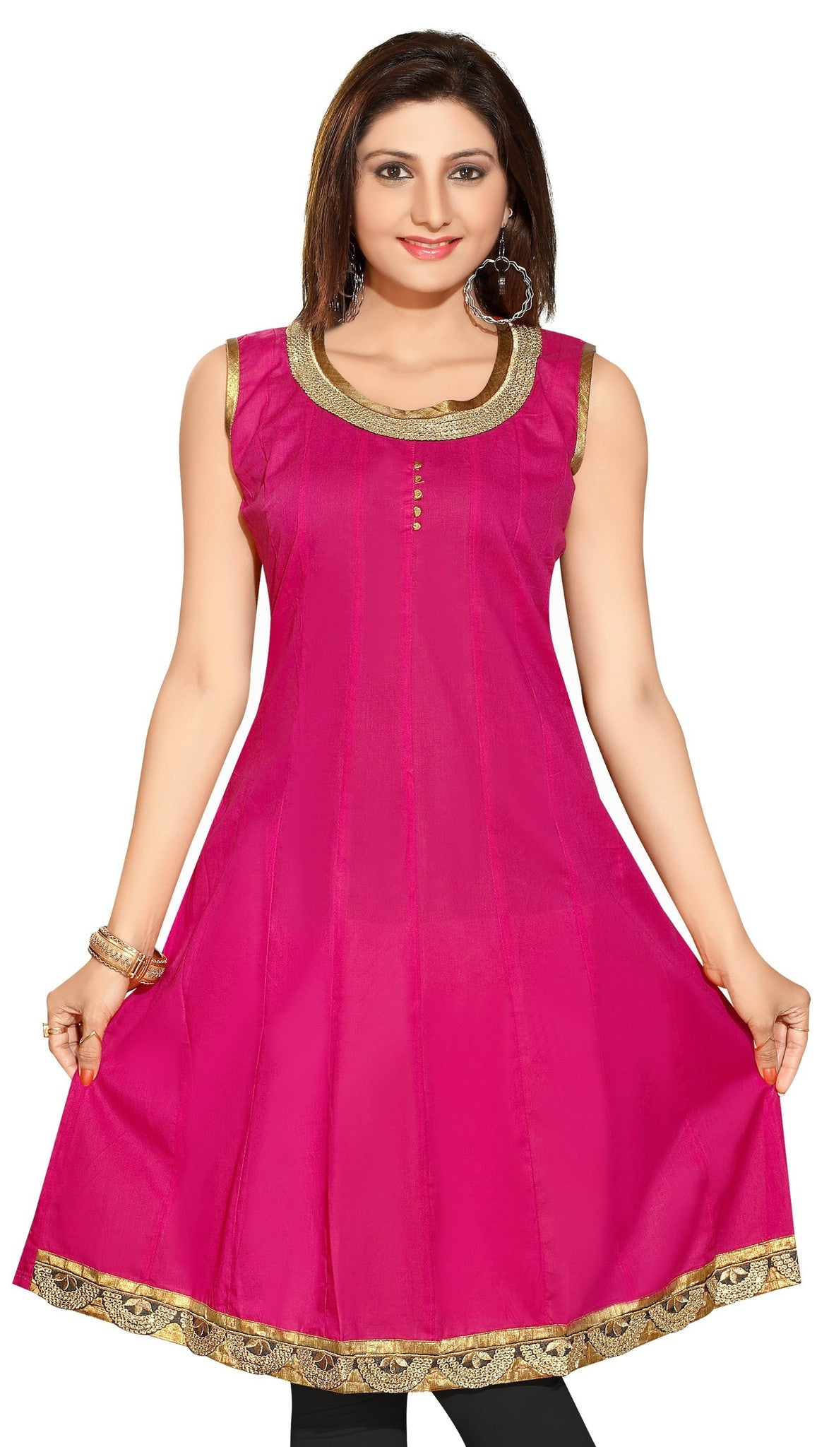 Party Wear/Semi Party Wear Short Sleeves Cotton Kurti in Pink Color