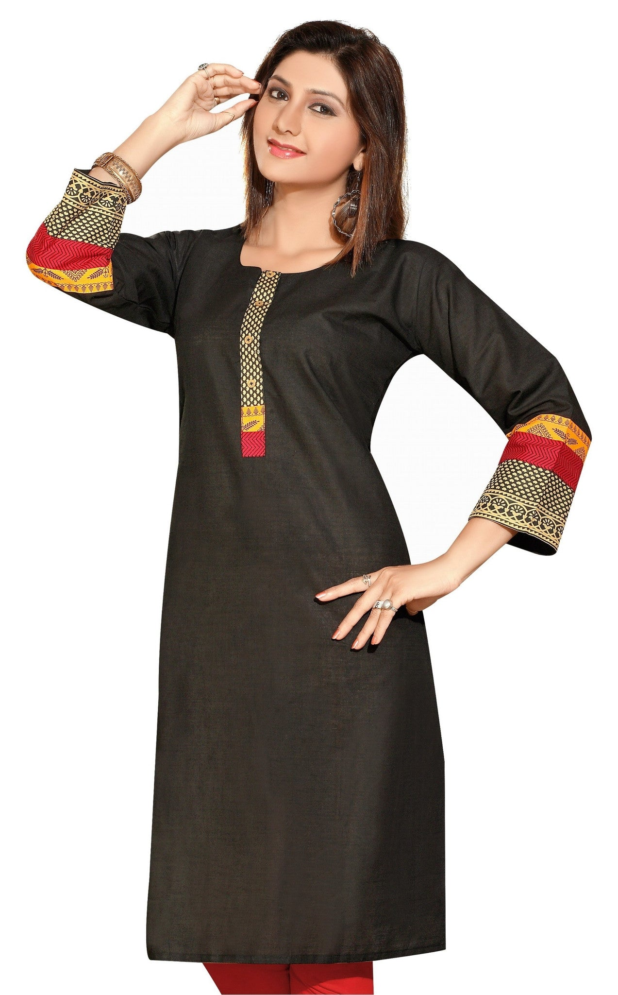 Black Cotton 3/4th Sleeves Kurti with beautifully designed neck - Boutique4India Inc.