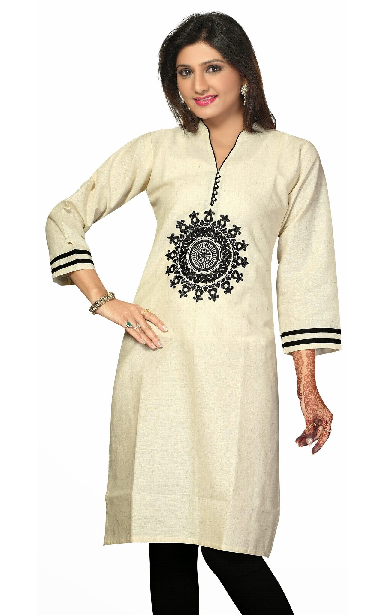 Orchid White Khadi Cotton 3/4 Sleeves Kurti stylish V Neck with buttons
