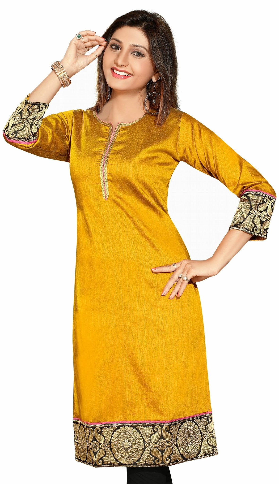 Marvelous Exotic Mustard Color Cotton Silk 3/4th Sleeves kurti - Boutique4India Inc.
