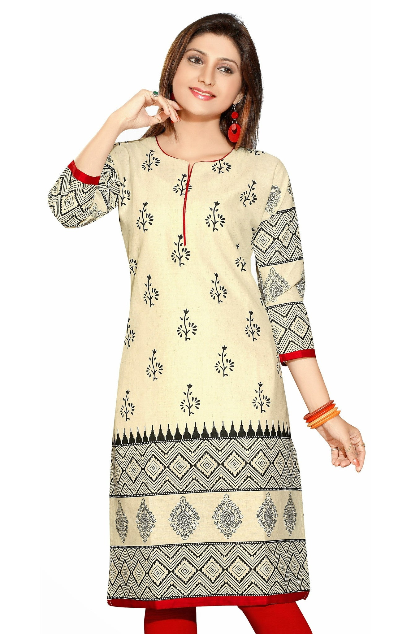 Off White Khadi 3/4 Sleeves Kurti with Beautiful Print allover