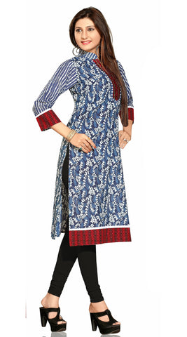 Cotton Printed Blue Kurti with attractive collar and neck design - Boutique4India Inc.