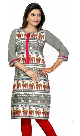 Grey 3/4 Sleeves Animal Print Cotton Kurti with attractive High Neck Collar - Boutique4India Inc.