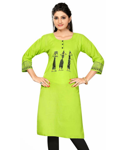 Neon Green Cotton 3/4th Sleeves kurti with beautiful print on the sleeves - Boutique4India Inc.