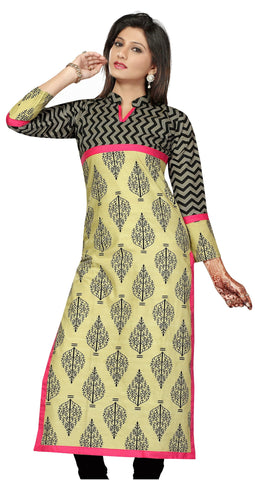 Black and Printed Pakistani Style Mandarin neck 3/4th Sleeves Kurti - Boutique4India Inc.