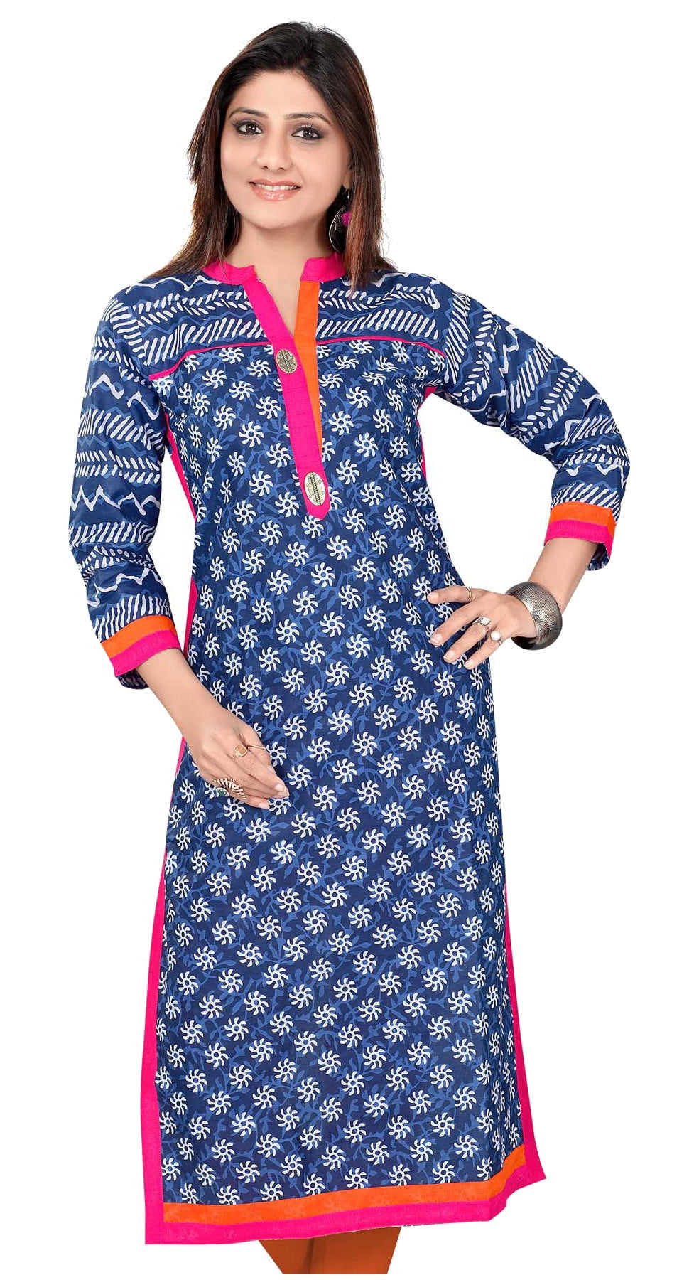 Blue Cotton Printed Kurti with attractive collar and neck design - Boutique4India Inc.