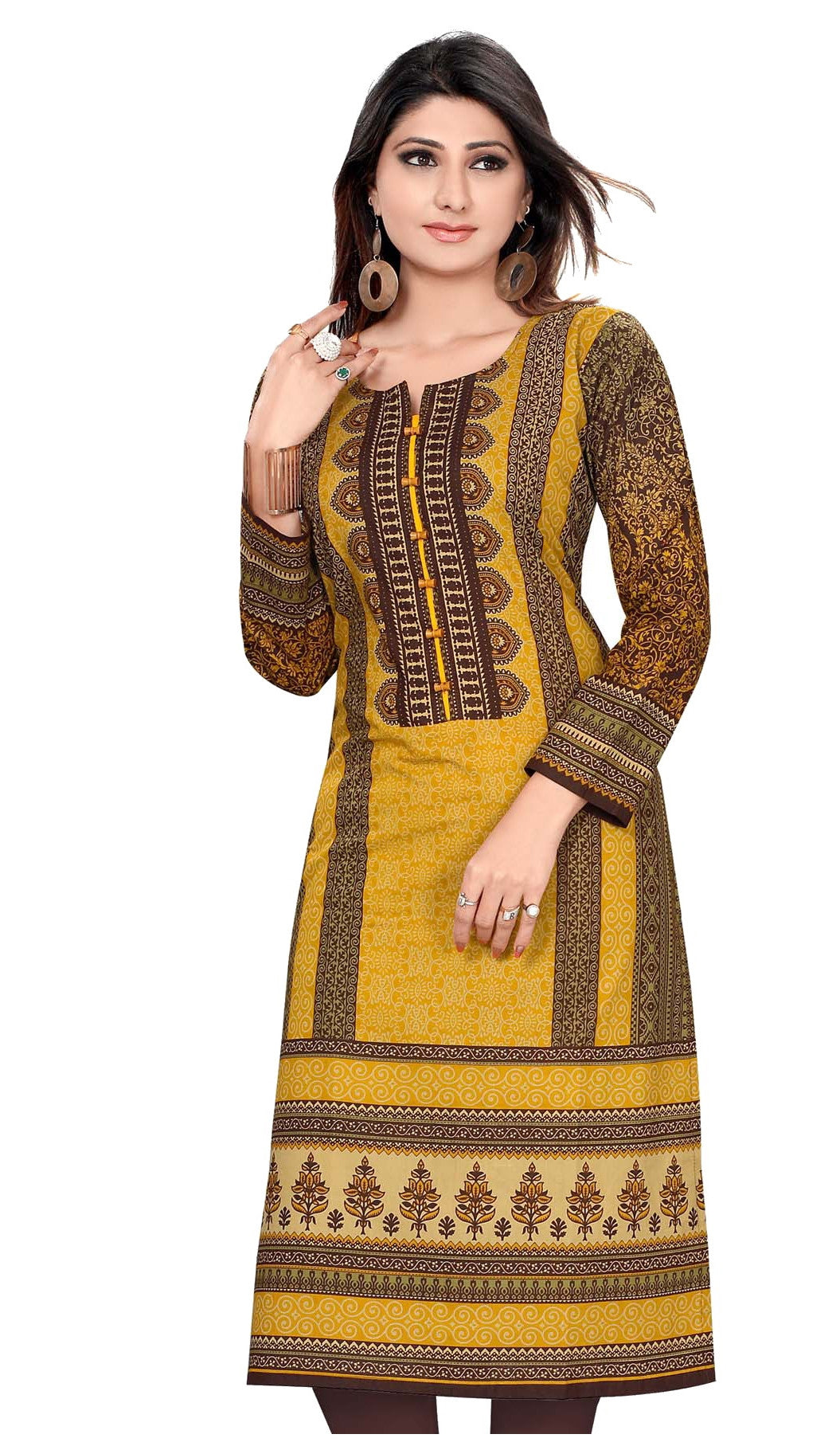 Shades of Brown Pakistani Style Cotton Printed Full Sleeves Long Kurti