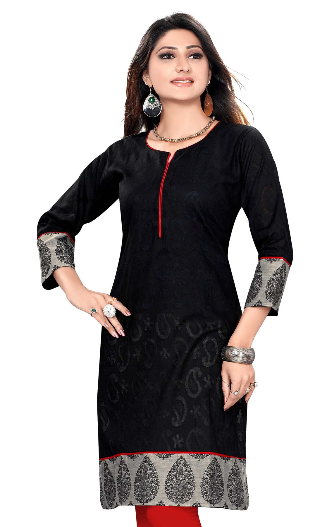 Cotton Jacquard fabric round neck 3/4th sleeves kurti with grey printed patch - Boutique4India Inc.