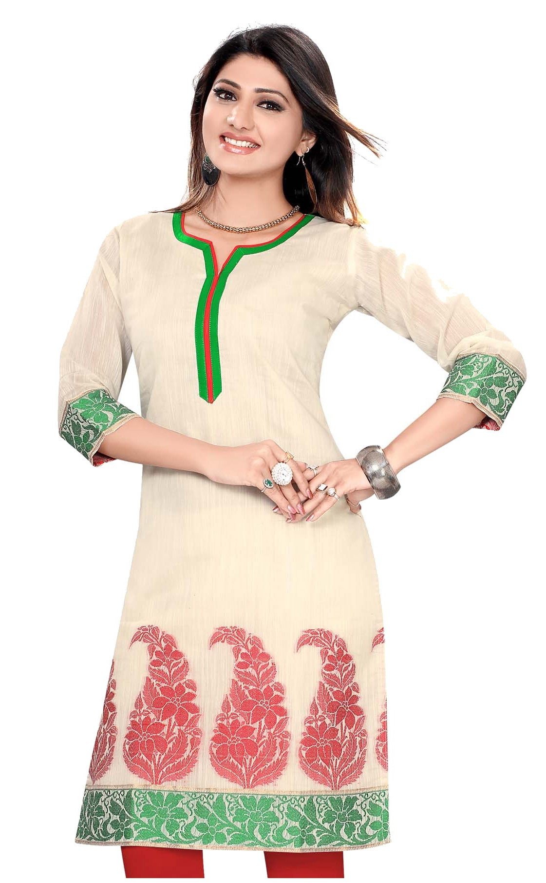 Off White Chanderi 3/4th Sleeves Kurti with Green flowery work