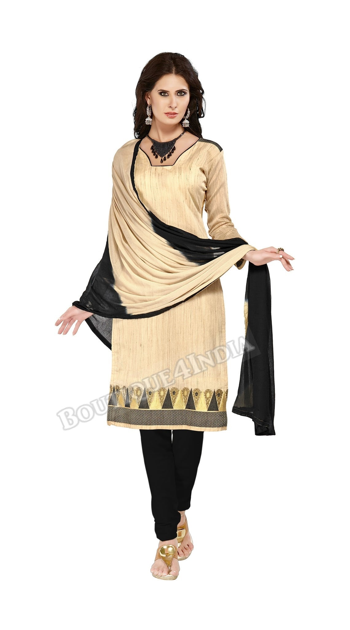 Beige and black Color Banarasi Embroidered Straight Cut Salwar Suit