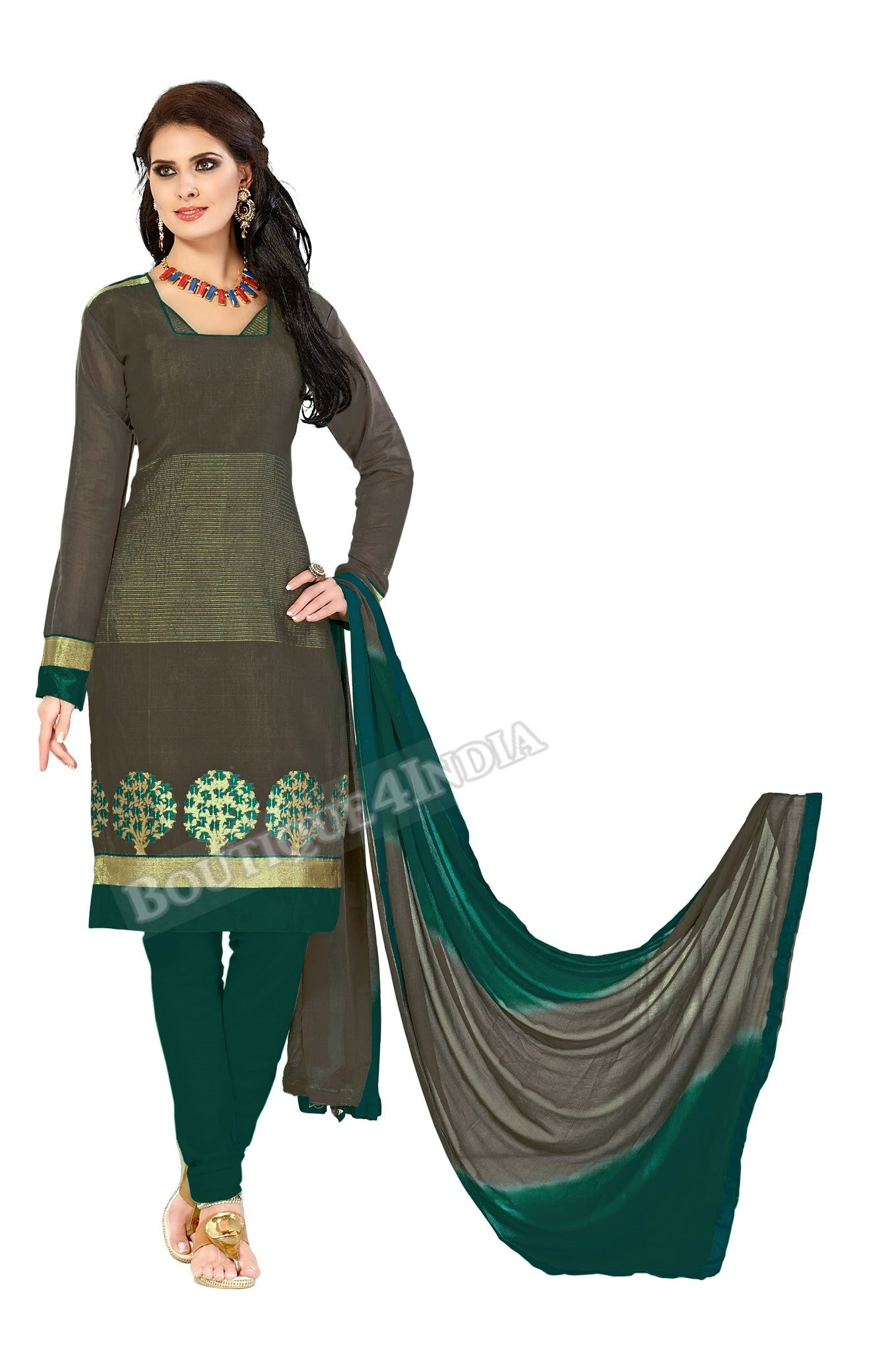 Dark grey Color Banarasi Embroidered Straight Cut Salwar Suit
