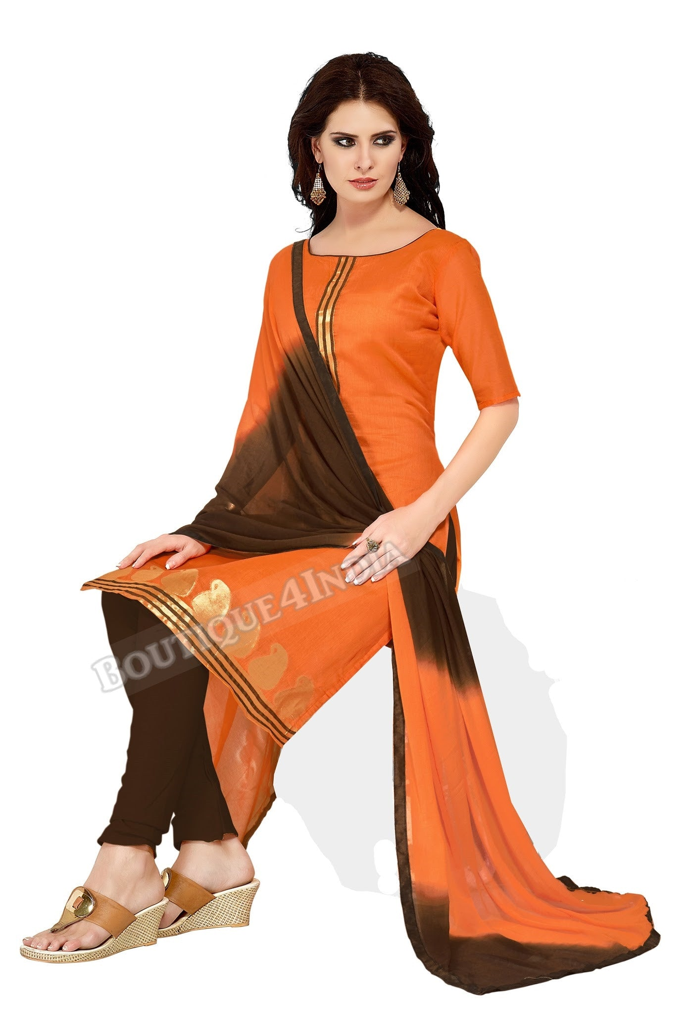 Orange Color Banarasi Embroidered Straight Cut Salwar Suit