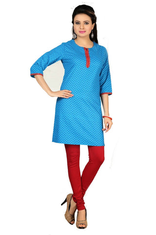 Summer Sky color Short Kurti with self design and 3/4 sleeves