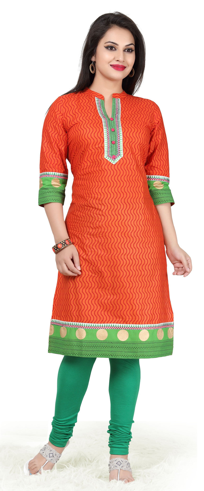 Designer cotton Kurti in Orange and green and golden printed Border - Boutique4India Inc.