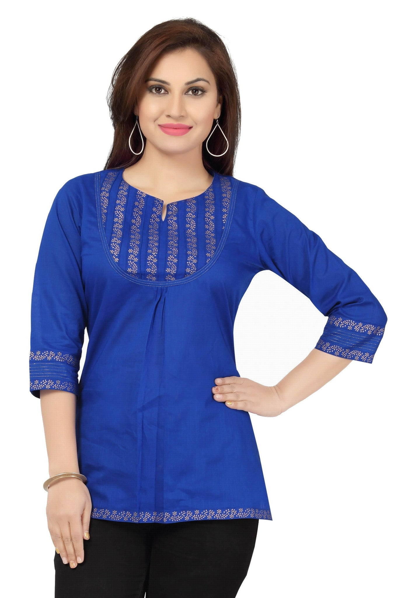 Blue printed cotton designer tunic for women with round neck - Boutique4India Inc.