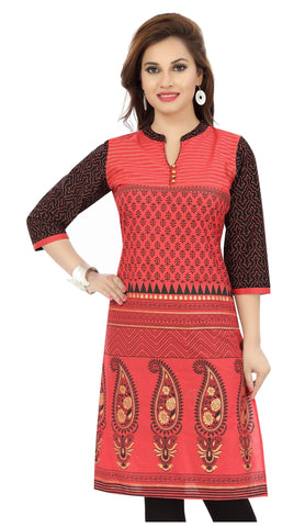 Myriad print cotton in tomato red with black sleeves and red border - Boutique4India Inc.