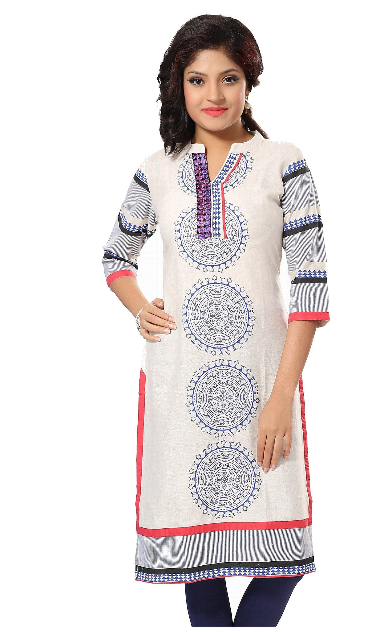 Charismatic chakra off white and blue printed cotton long kurti - Boutique4India Inc.