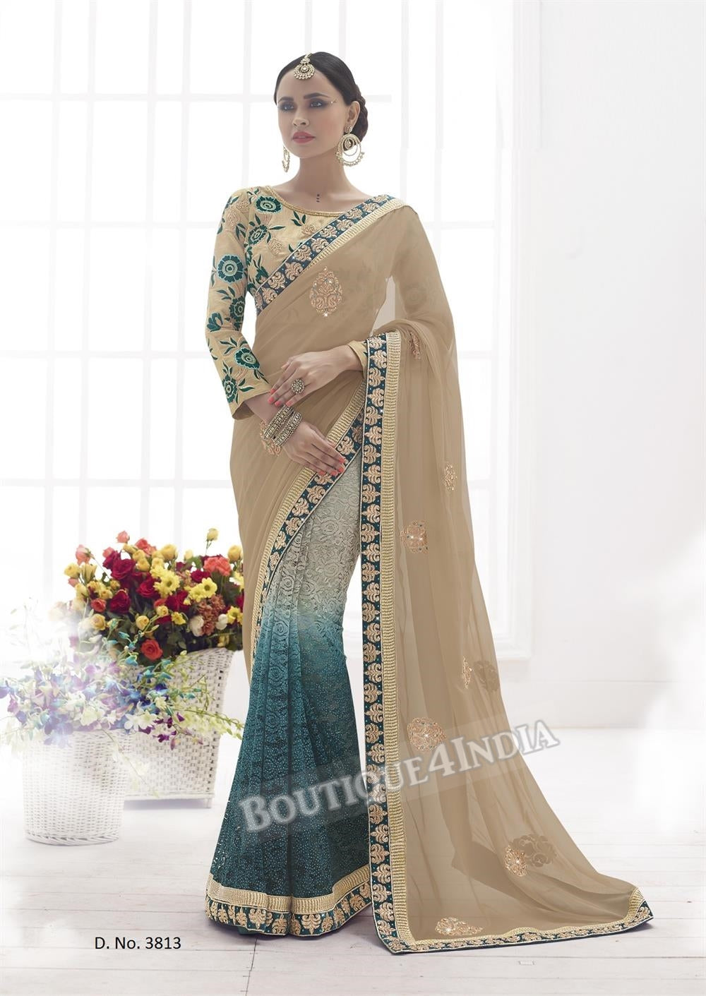 Sarees - Chickoo and sea green Heavy work