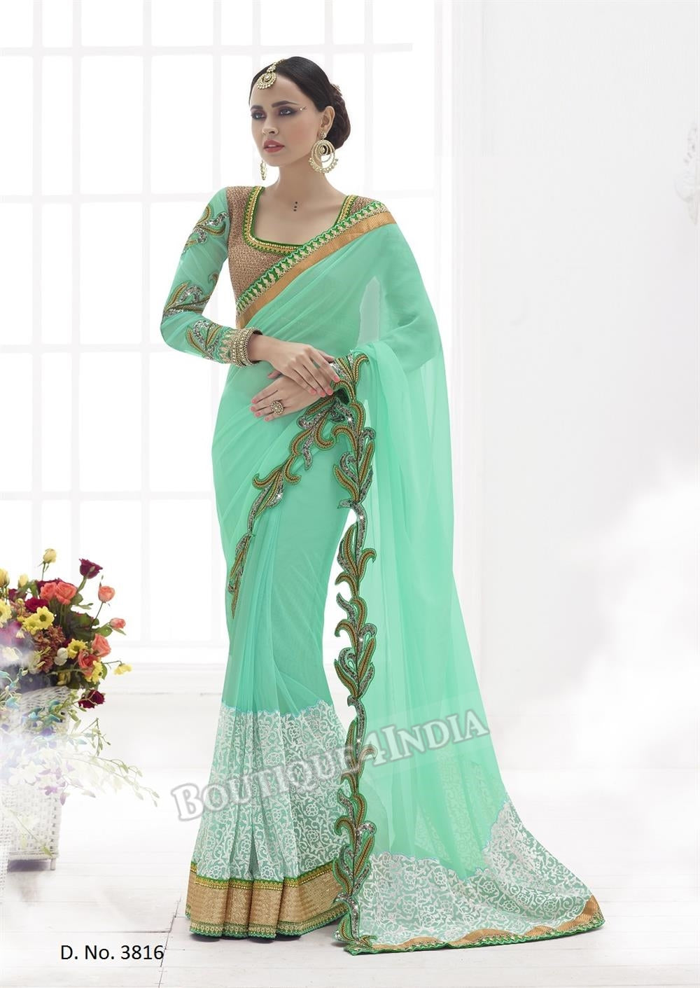 Sarees - Sea Green, white and Golden Bridal Collections