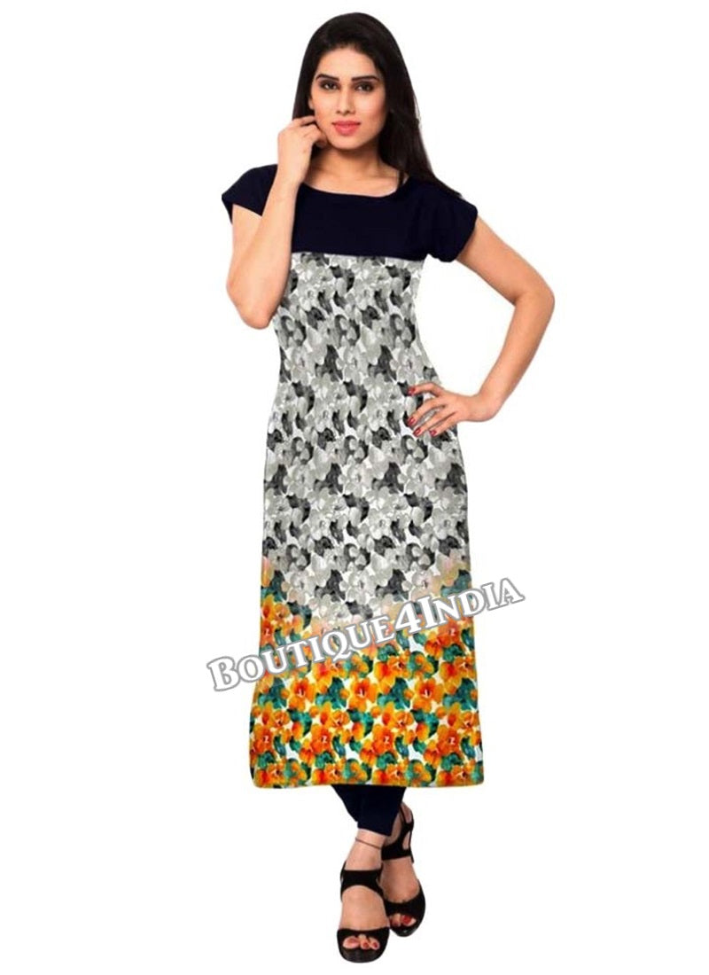 mulicolor black floral Crepe Casual wear Printed Kurti