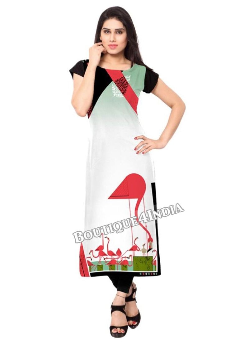 Multicolor off white Crepe Casual wear Printed Kurti