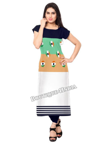 Indian flag floral Crepe Casual wear Printed Kurti