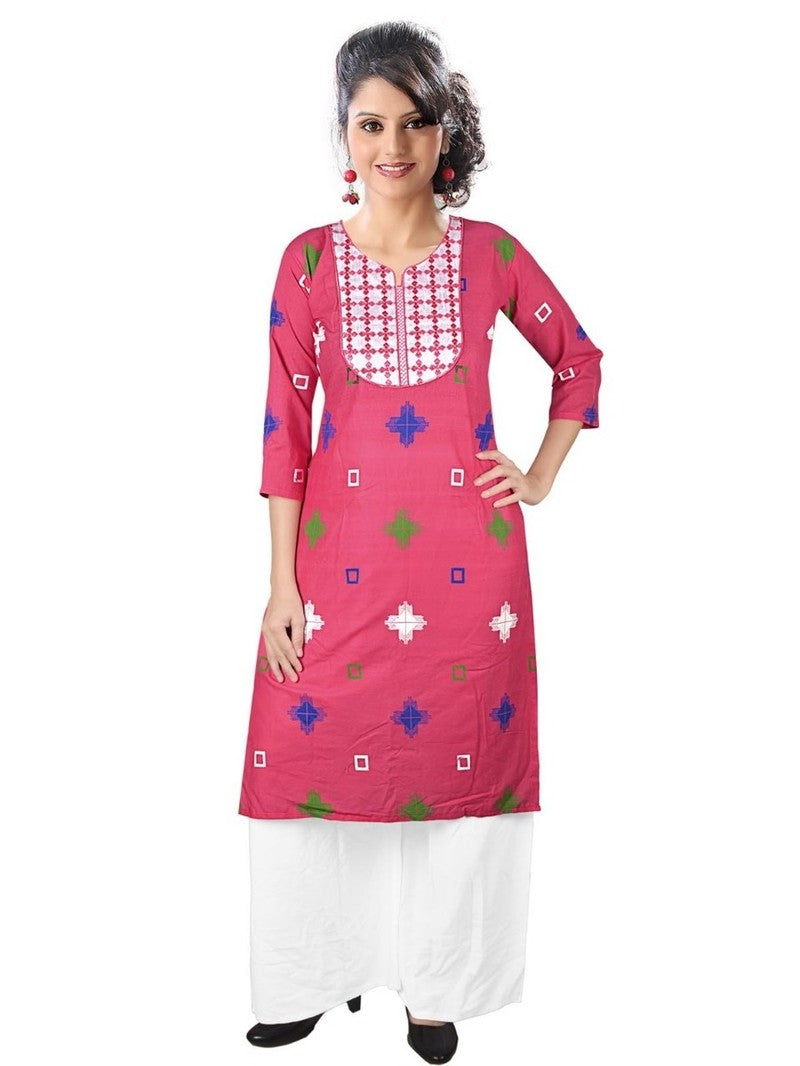 Pink Cotton Printed Kurti with Palazzo
