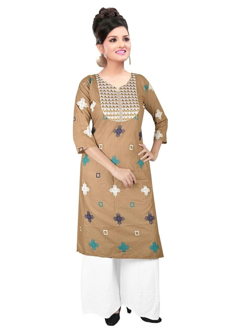 Mustard Cotton Printed Kurti with Palazzo