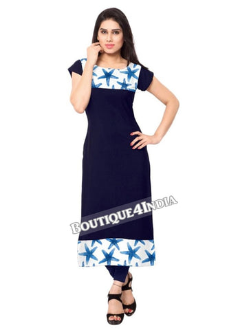 Navy and light blue Crepe Casual wear Printed Kurti