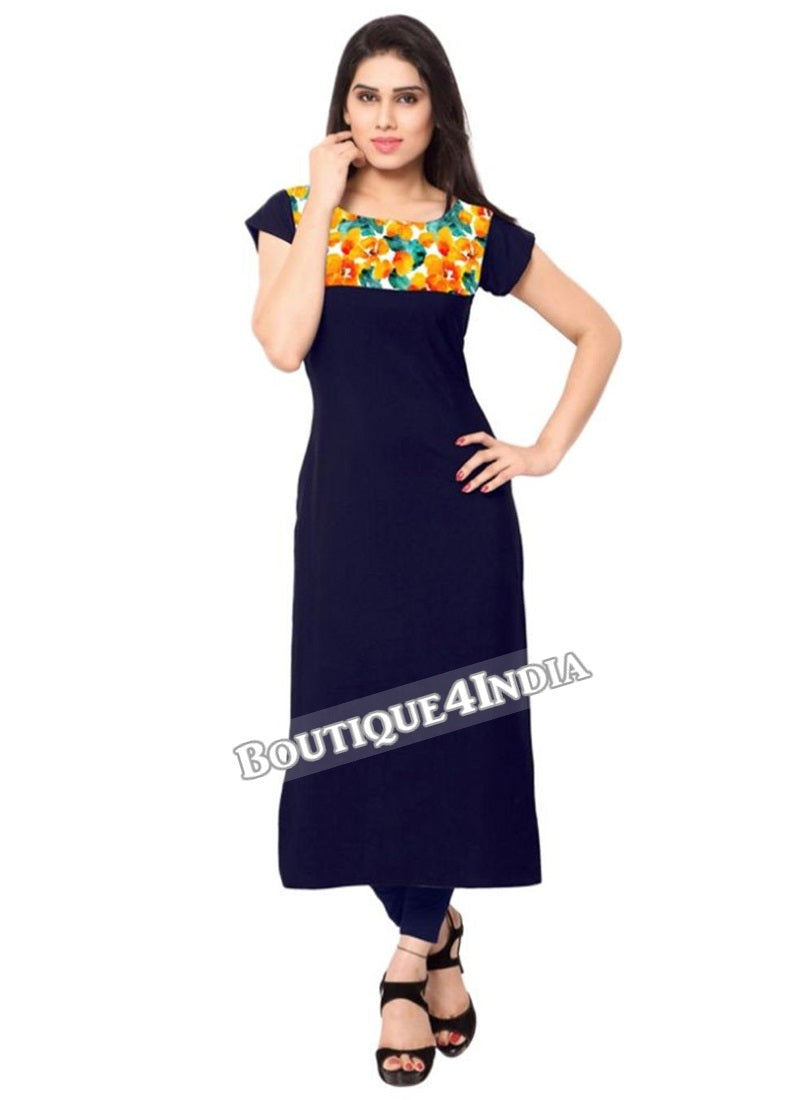 Full Navy Crepe Casual wear Printed Kurti