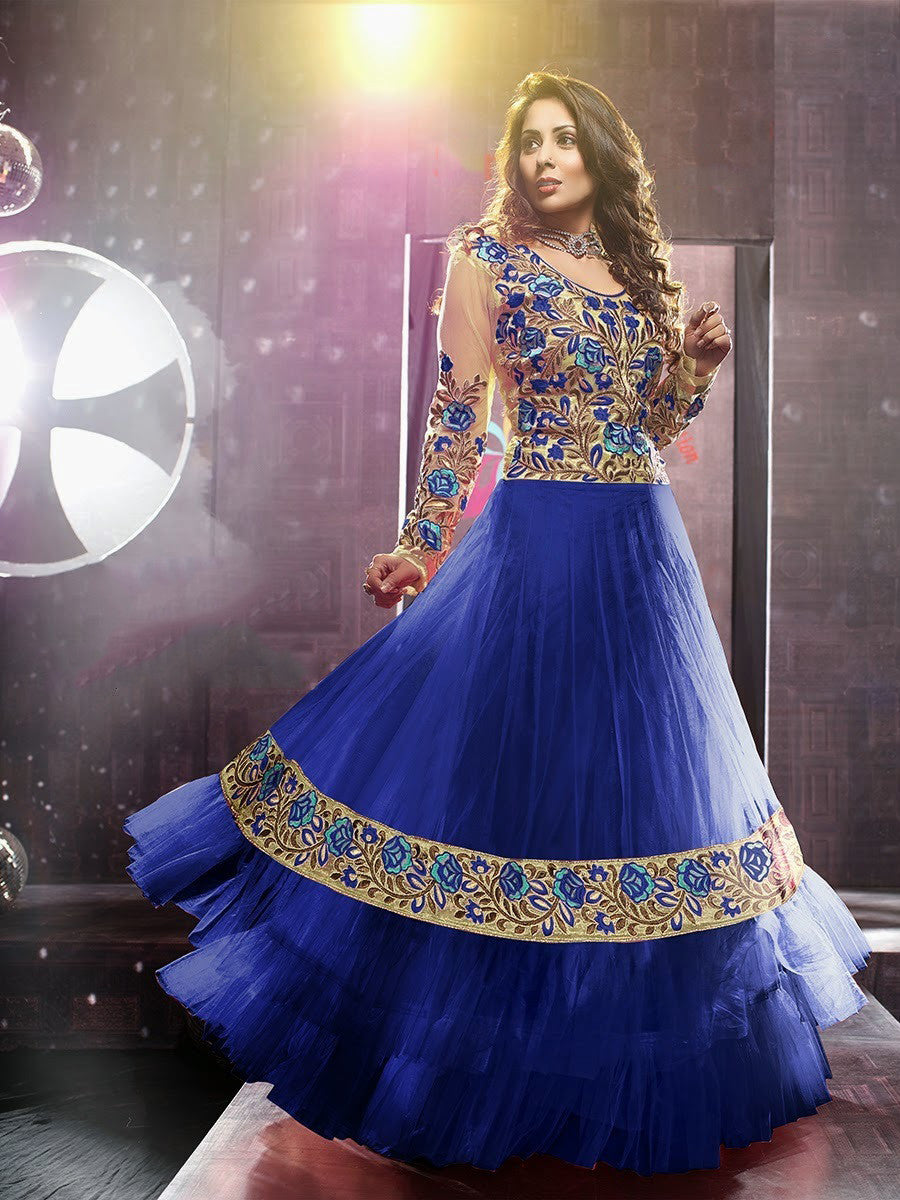 Net Long Salwar - Royal Blue And Ivory Unique Long Net And Embroidery Work Gorgeous Salwar Collection - Boutique4India Inc.