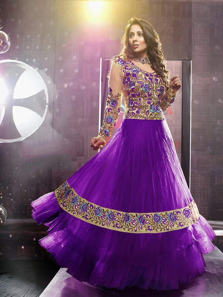 Net Long Salwar - Royal Purple And Ivory Unique Long Net And Embroidery Work Gorgeous Salwar Collection - Boutique4India Inc.