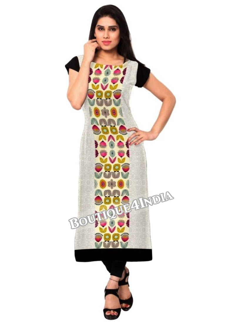off white multicolor Crepe Casual wear Printed Kurtis