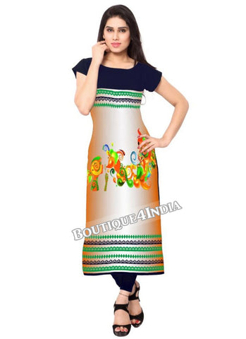 Multicolor black  Crepe Casual wear Printed Kurti